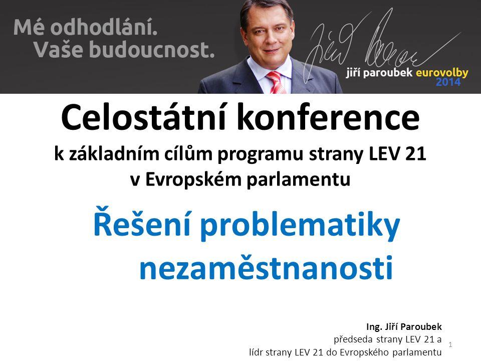 Celostátní konference k základním cílům programu strany LEV 21 v Evropském parlamentu Řešení problematiky nezaměstnanosti Ing. Jiří Paroubek předseda