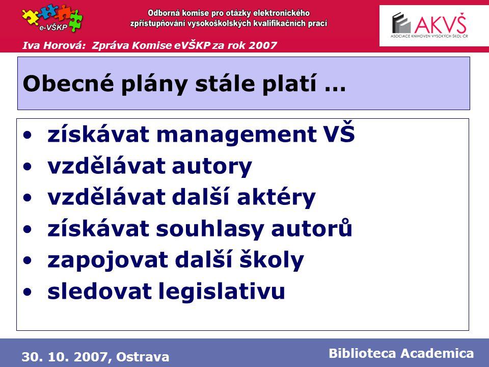 Iva Horová: Zpráva Komise eVŠKP za rok 2007 30. 10. 2007, Ostrava Biblioteca Academica Obecné plány stále platí … • získávat management VŠ • vzdělávat