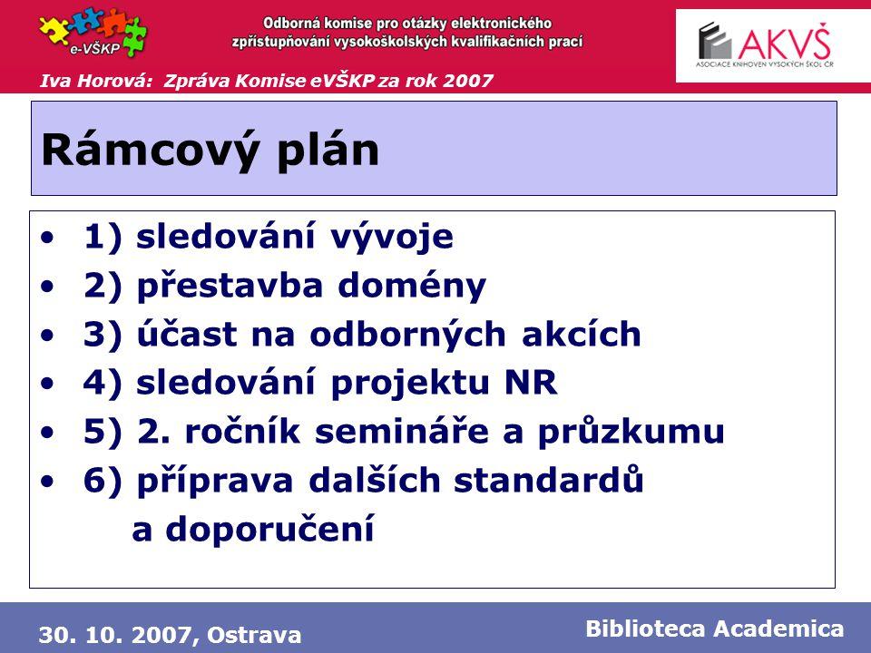 Iva Horová: Zpráva Komise eVŠKP za rok 2007 30. 10. 2007, Ostrava Biblioteca Academica Rámcový plán • 1) sledování vývoje • 2) přestavba domény • 3) ú