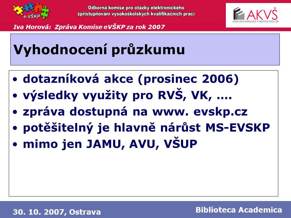 Iva Horová: Zpráva Komise eVŠKP za rok 2007 30. 10. 2007, Ostrava Biblioteca Academica Vyhodnocení průzkumu •dotazníková akce (prosinec 2006) •výsledk