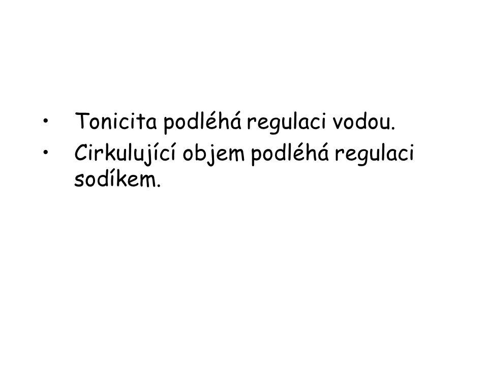 •Tonicita podléhá regulaci vodou. •Cirkulující objem podléhá regulaci sodíkem.