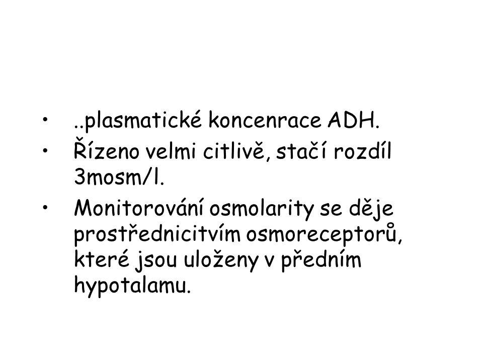 •..plasmatické koncenrace ADH. •Řízeno velmi citlivě, stačí rozdíl 3mosm/l. •Monitorování osmolarity se děje prostřednicitvím osmoreceptorů, které jso