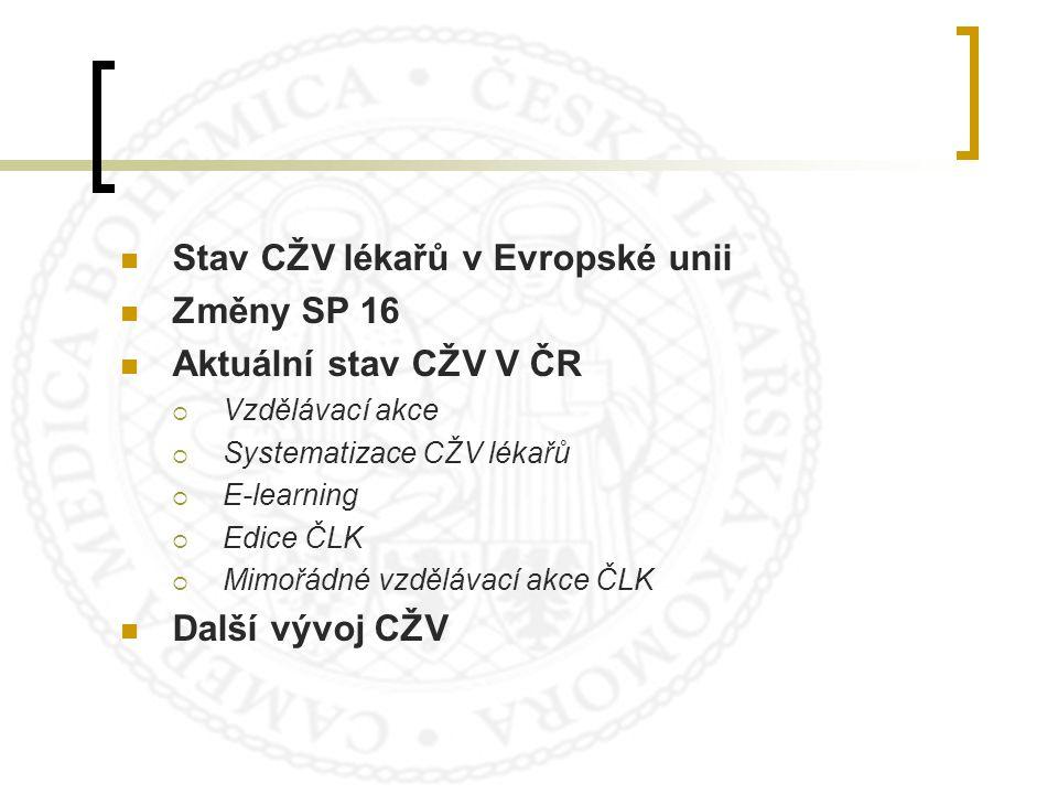 SPOLEČNÉ CME V EU? Vývoj počtu vzdělávacích akcí akreditovaných EACCME v České republice