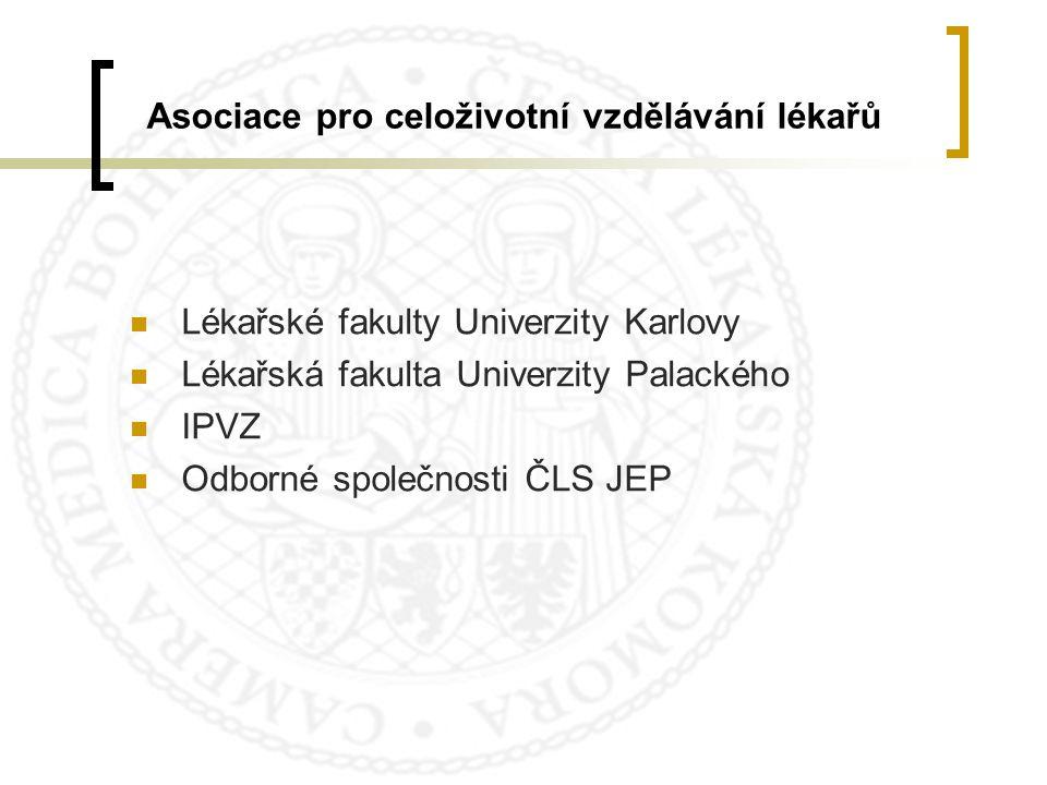 Asociace pro celoživotní vzdělávání lékařů  Lékařské fakulty Univerzity Karlovy  Lékařská fakulta Univerzity Palackého  IPVZ  Odborné společnosti
