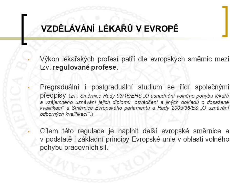 VZDĚLÁVÁNÍ LÉKAŘŮ V EVROPĚ • Výkon lékařských profesí patří dle evropských směrnic mezi tzv. regulované profese. • Pregraduální i postgraduální studiu