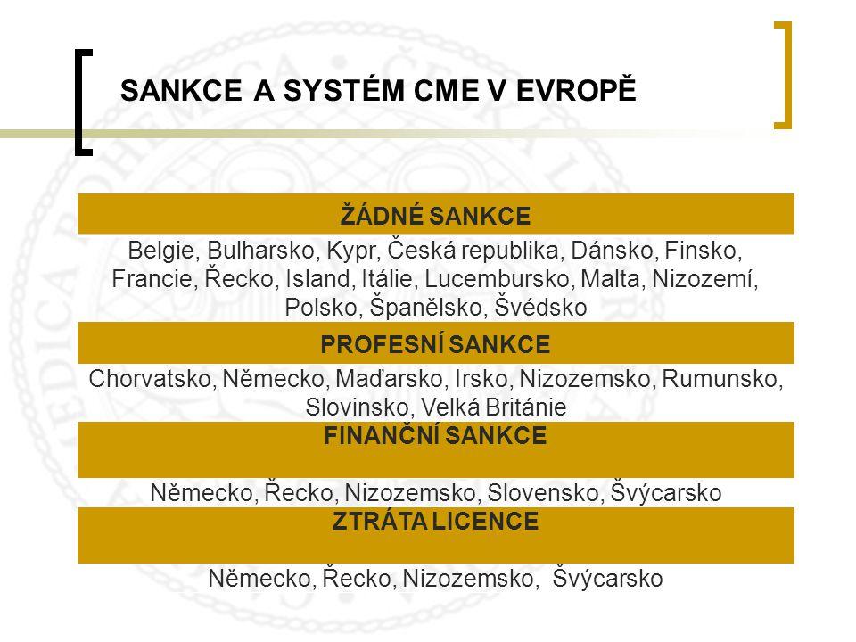 SANKCE A SYSTÉM CME V EVROPĚ ŽÁDNÉ SANKCE Belgie, Bulharsko, Kypr, Česká republika, Dánsko, Finsko, Francie, Řecko, Island, Itálie, Lucembursko, Malta