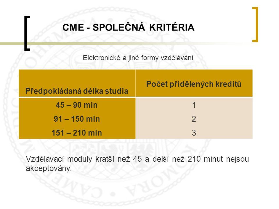 Předpokládaná délka studia Počet přidělených kreditů 45 – 90 min 91 – 150 min 151 – 210 min 123123 Vzdělávací moduly kratší než 45 a delší než 210 min