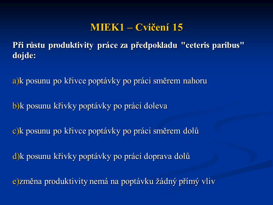 MIEK1 – Cvičení 15 Při růstu produktivity práce za předpokladu