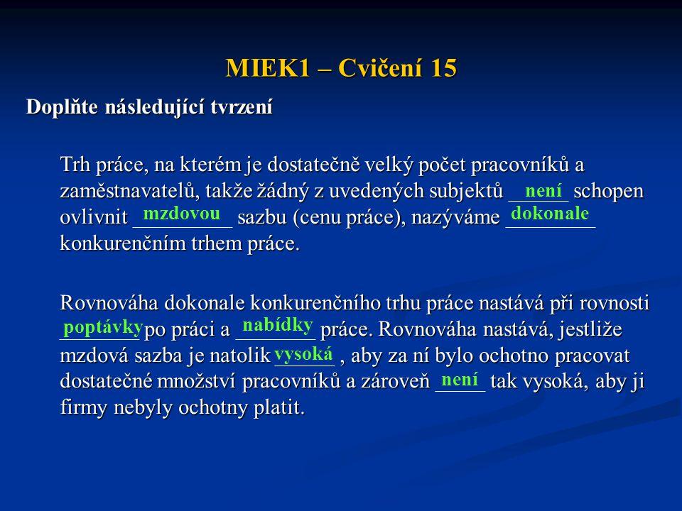 MIEK1 – Cvičení 15 Doplňte následující tvrzení Trh práce, na kterém je dostatečně velký počet pracovníků a zaměstnavatelů, takže žádný z uvedených sub
