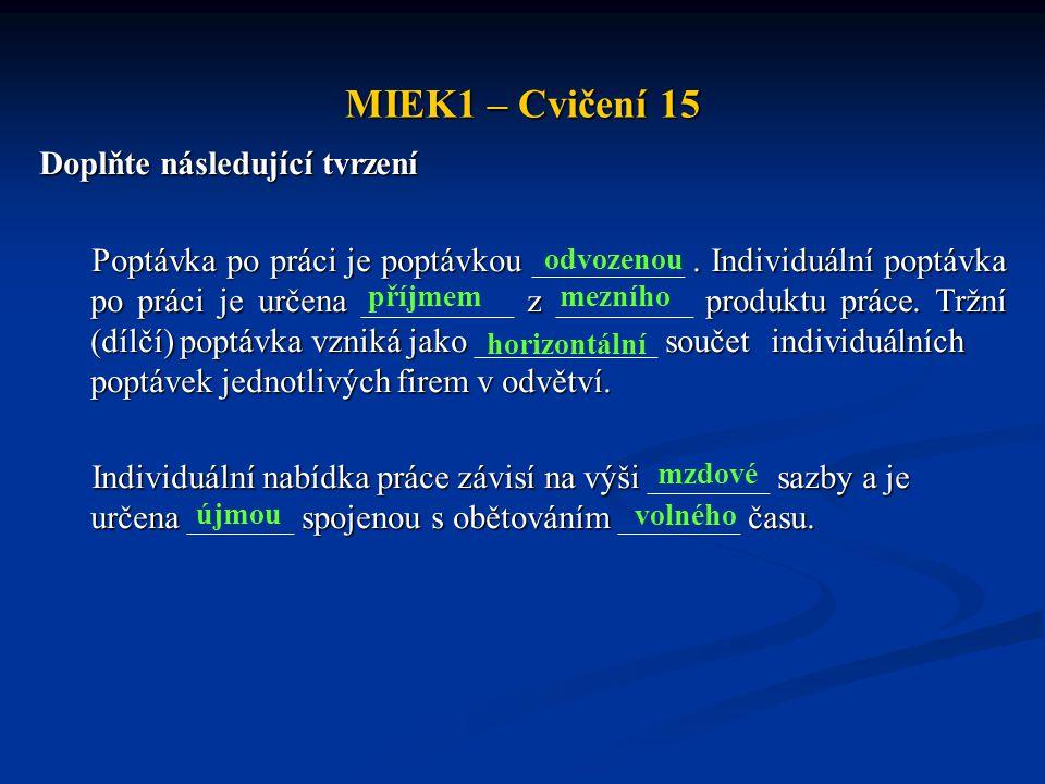 MIEK1 – Cvičení 15 Doplňte následující tvrzení Poptávka po práci je poptávkou. Individuální poptávka po práci je určena z produktu práce. Tržní (dílčí