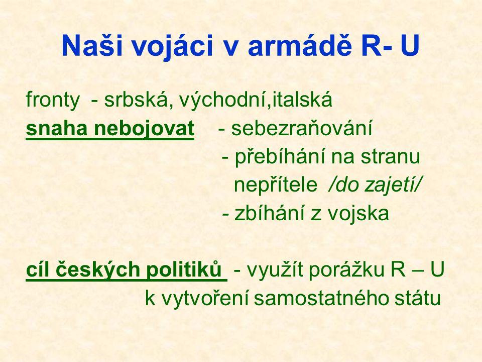 Naši vojáci v armádě R- U fronty - srbská, východní,italská snaha nebojovat - sebezraňování - přebíhání na stranu nepřítele /do zajetí/ - zbíhání z vo
