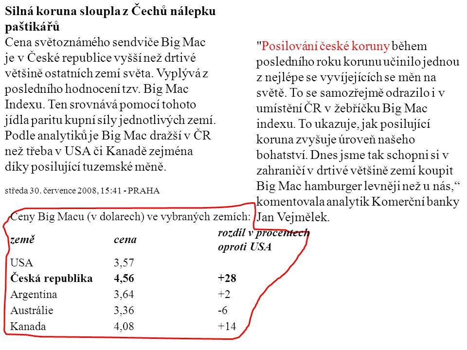 Silná koruna sloupla z Čechů nálepku paštikářů Cena světoznámého sendviče Big Mac je v České republice vyšší než drtivé většině ostatních zemí světa.
