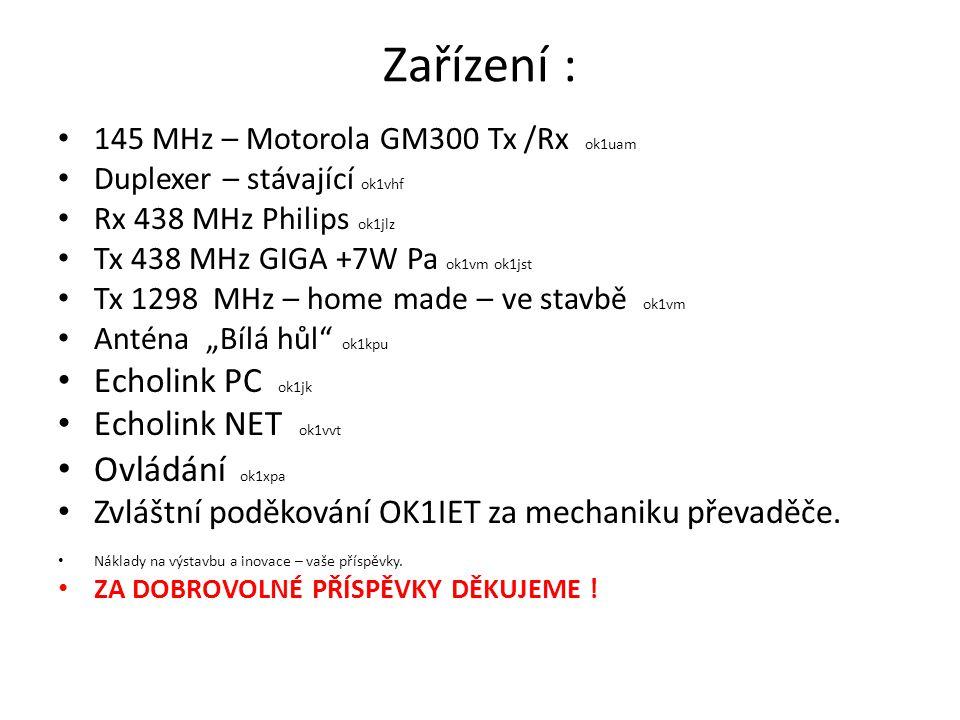 Zařízení : • 145 MHz – Motorola GM300 Tx /Rx ok1uam • Duplexer – stávající ok1vhf • Rx 438 MHz Philips ok1jlz • Tx 438 MHz GIGA +7W Pa ok1vm ok1jst •