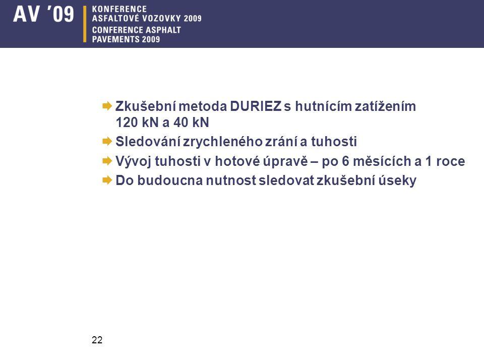  Zkušební metoda DURIEZ s hutnícím zatížením 120 kN a 40 kN  Sledování zrychleného zrání a tuhosti  Vývoj tuhosti v hotové úpravě – po 6 měsících a 1 roce  Do budoucna nutnost sledovat zkušební úseky 22