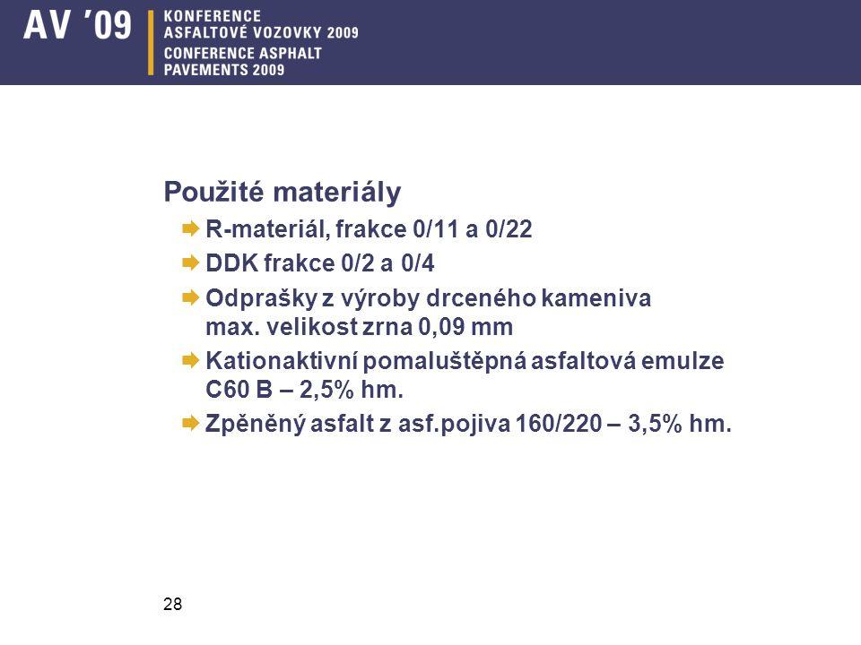Použité materiály  R-materiál, frakce 0/11 a 0/22  DDK frakce 0/2 a 0/4  Odprašky z výroby drceného kameniva max.