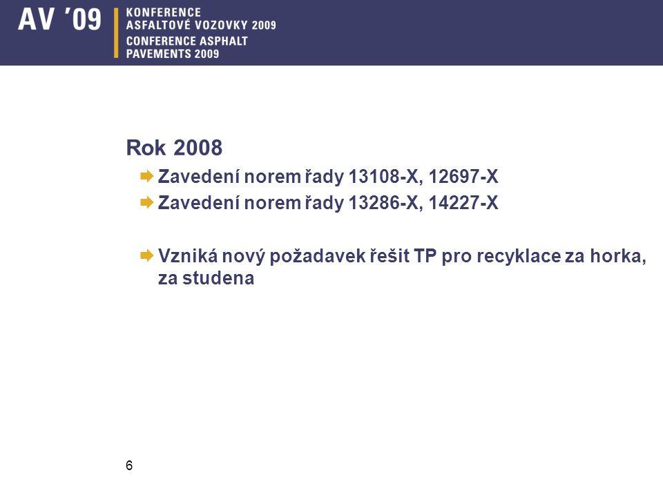 Rok 2008  Zavedení norem řady 13108-X, 12697-X  Zavedení norem řady 13286-X, 14227-X  Vzniká nový požadavek řešit TP pro recyklace za horka, za studena 6