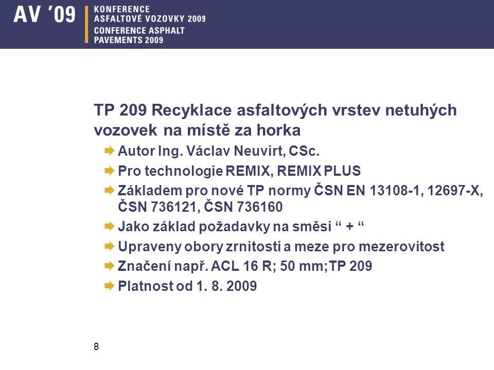 TP 209 Recyklace asfaltových vrstev netuhých vozovek na místě za horka  Autor Ing.