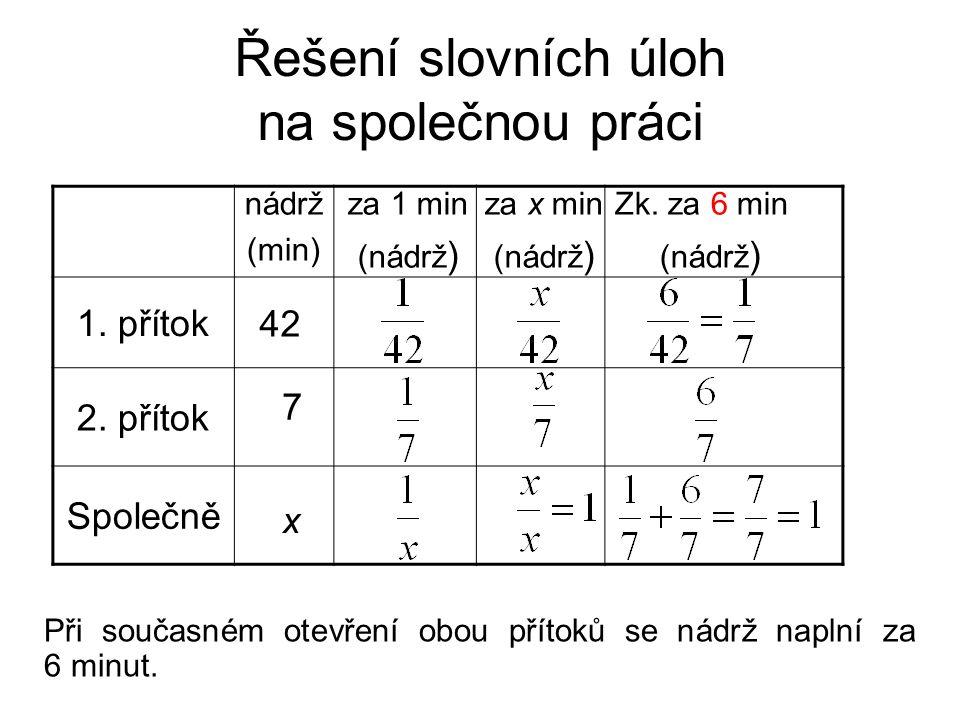 Řešení slovních úloh na společnou práci Při současném otevření obou přítoků se nádrž naplní za 6 minut. 1. přítok 2. přítok Společně 42 7 za 1 min (ná