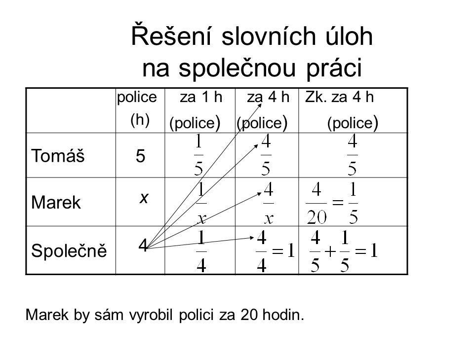 Řešení slovních úloh na společnou práci Marek by sám vyrobil polici za 20 hodin. Tomáš Marek Společně 5 x za 1 h (police ) za 4 h (police ) police (h)