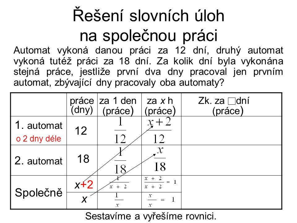 Řešení slovních úloh na společnou práci Sestavíme a vyřešíme rovnici. 1. automat o 2 dny déle 2. automat Společně 12 18 za 1 den (práce ) za x h (prác