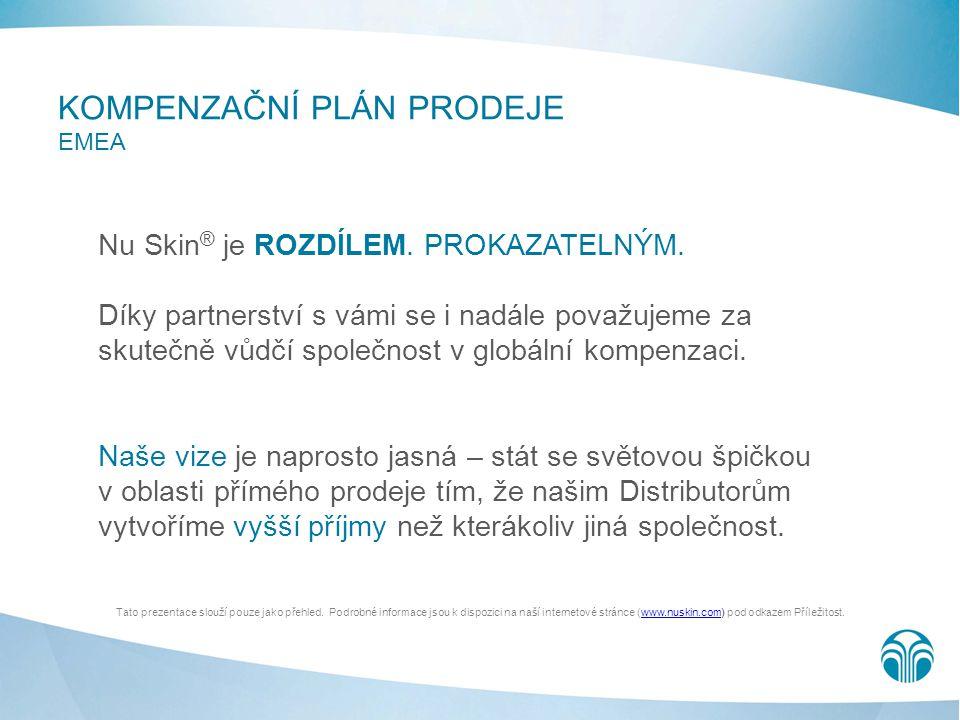 KOMPENZAČNÍ PLÁN PRODEJE EMEA Nu Skin ® je ROZDÍLEM. PROKAZATELNÝM. Díky partnerství s vámi se i nadále považujeme za skutečně vůdčí společnost v glob