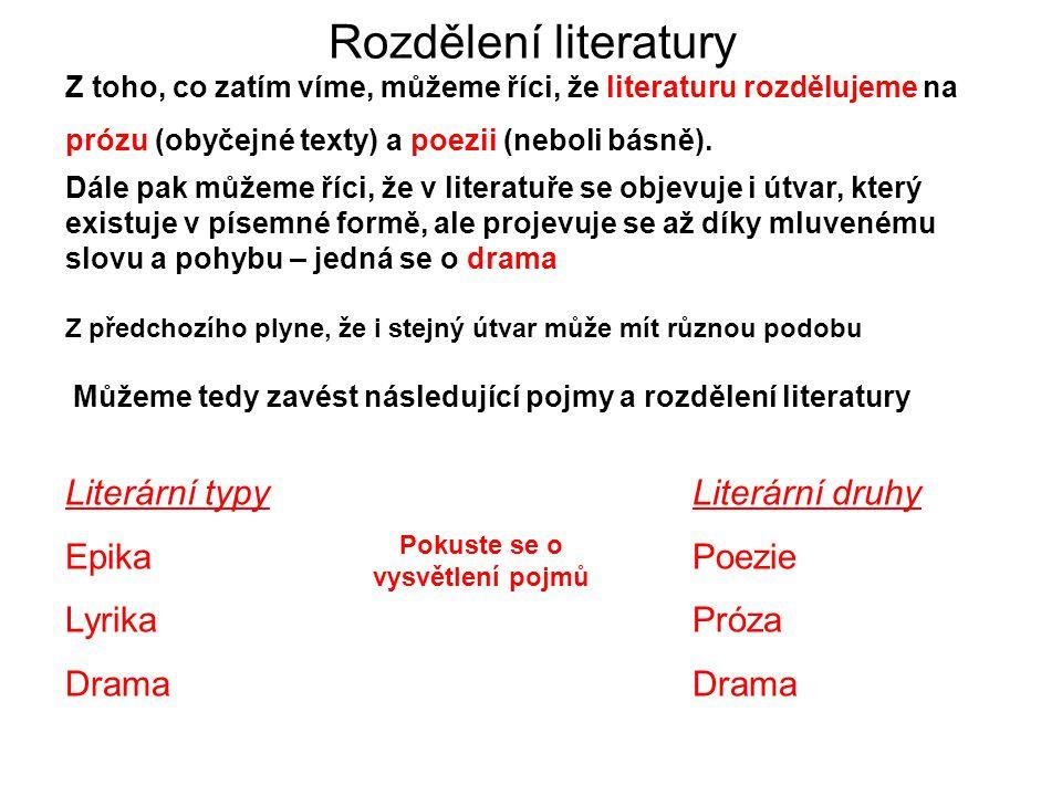 Rozdělení literatury Z toho, co zatím víme, můžeme říci, že literaturu rozdělujeme na prózu (obyčejné texty) a poezii (neboli básně). Dále pak můžeme