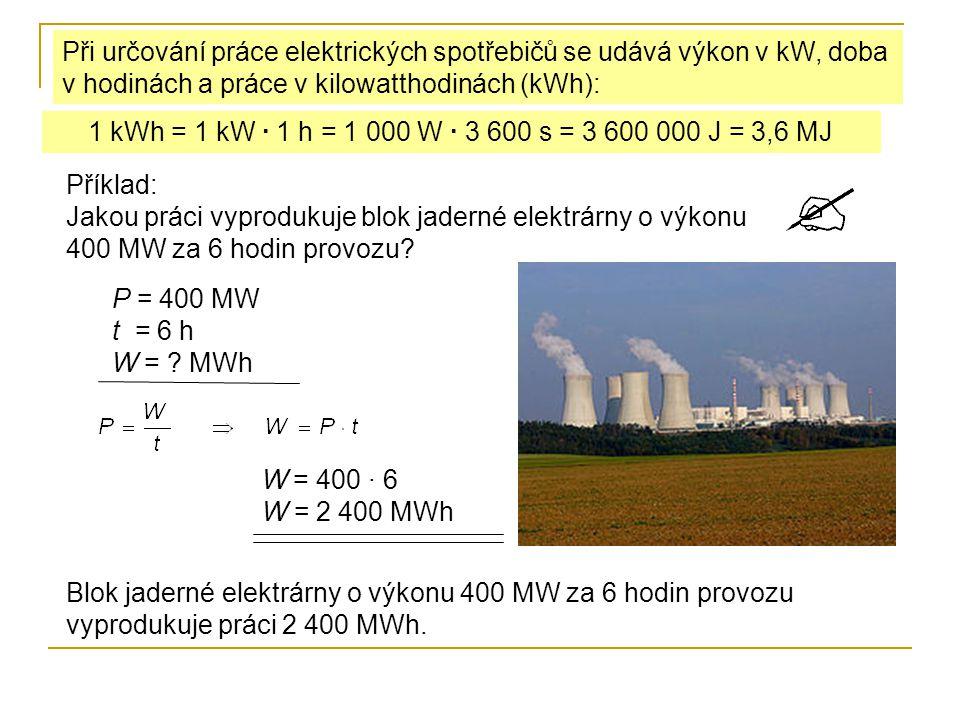 Elektrická práce příklady