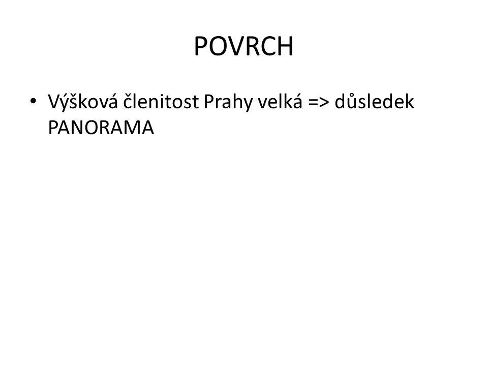 POVRCH • Výšková členitost Prahy velká => důsledek PANORAMA