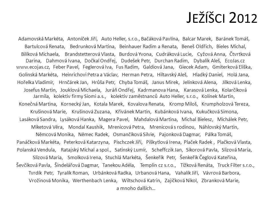 J EŽÍŠCI 2 012 Adamovská Markéta, Antoníček Jiří, Auto Heller, s.r.o., Bačáková Pavlína, Balcar Marek, Baránek Tomáš, Bartulcová Renata, Bedrunková Ma