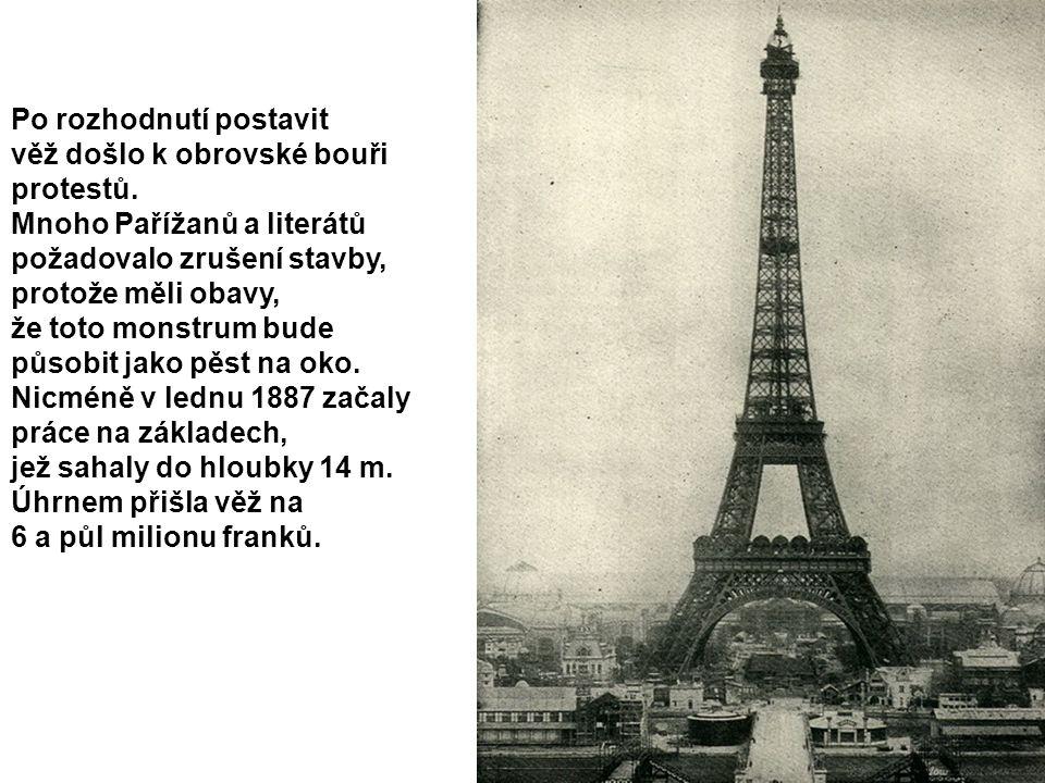 Po rozhodnutí postavit věž došlo k obrovské bouři protestů. Mnoho Pařížanů a literátů požadovalo zrušení stavby, protože měli obavy, že toto monstrum
