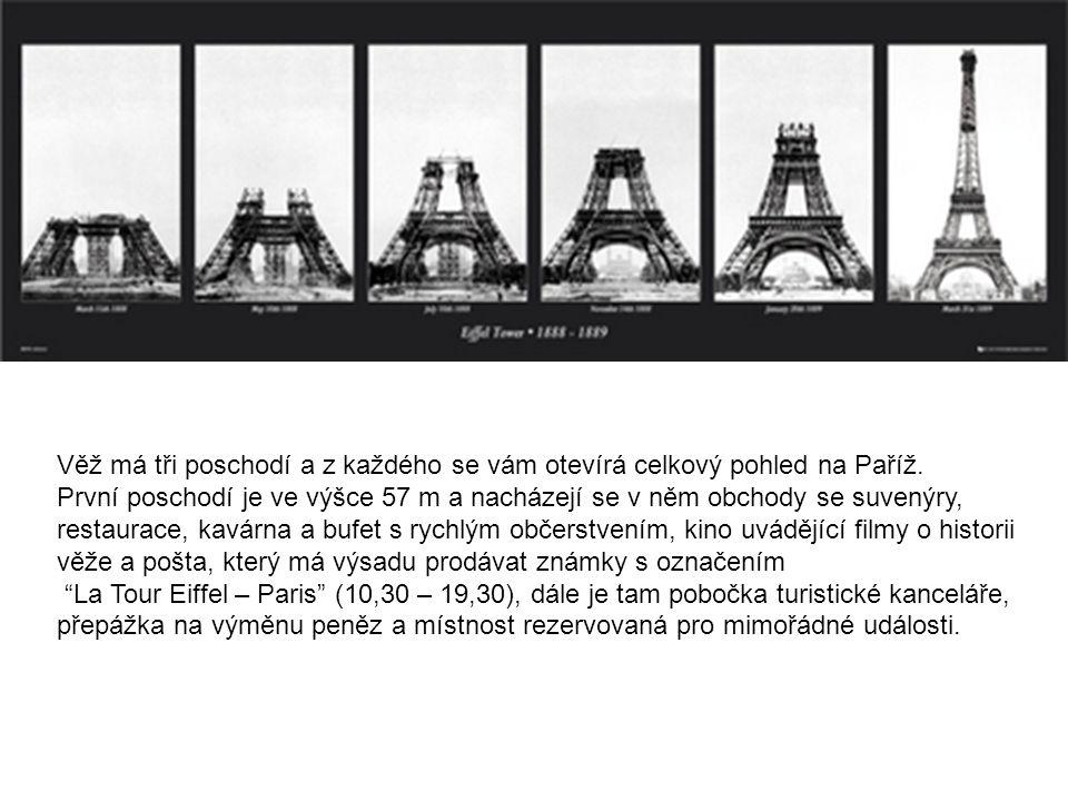 Věž má tři poschodí a z každého se vám otevírá celkový pohled na Paříž. První poschodí je ve výšce 57 m a nacházejí se v něm obchody se suvenýry, rest