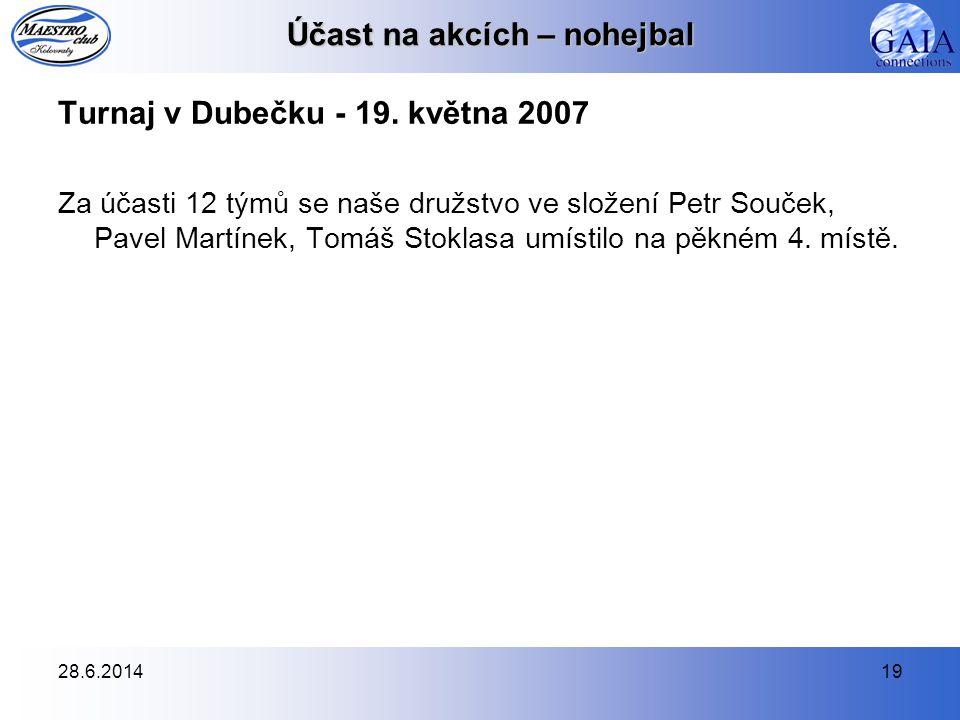 28.6.201419 Účast na akcích – nohejbal Turnaj v Dubečku - 19. května 2007 Za účasti 12 týmů se naše družstvo ve složení Petr Souček, Pavel Martínek, T