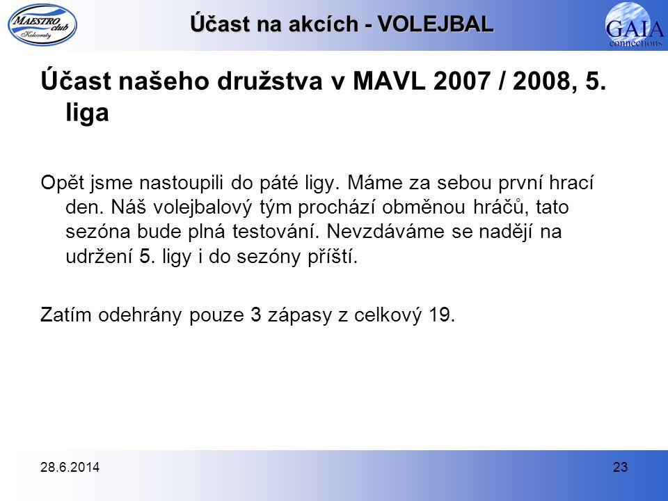 28.6.201423 Účast na akcích - VOLEJBAL Účast našeho družstva v MAVL 2007 / 2008, 5. liga Opět jsme nastoupili do páté ligy. Máme za sebou první hrací