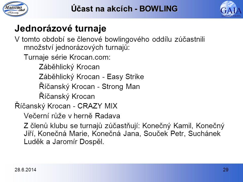 28.6.201429 Účast na akcích - BOWLING Jednorázové turnaje V tomto období se členové bowlingového oddílu zúčastnili množství jednorázových turnajů: Tur