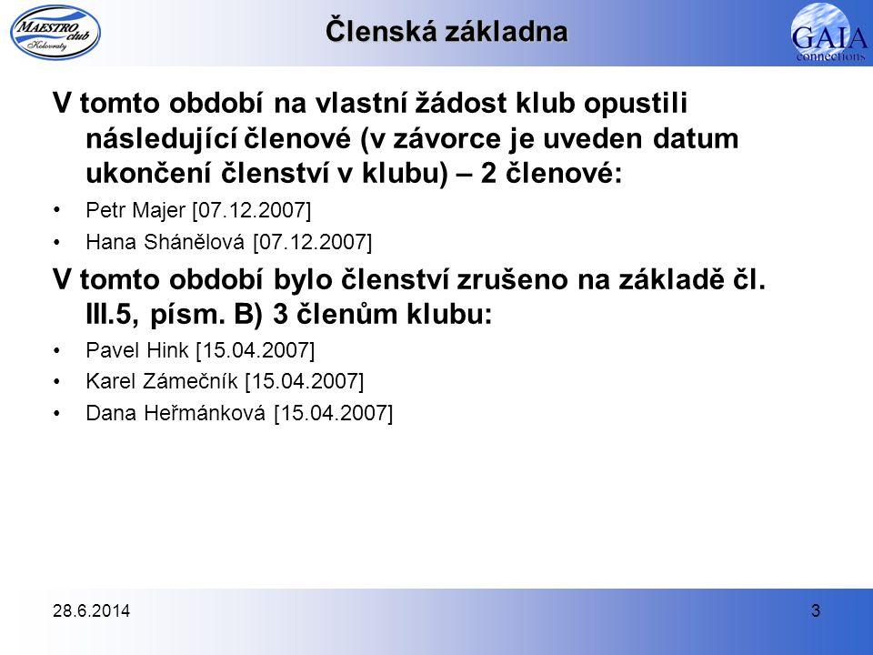 28.6.20144 Výkonný výbor Složení výkonného výboru v období duben 2007 – listopad 2007: Petr Souček (prezident) Petr Majer (viceprezident) •rezignoval na svou funkci k 1.12.2007 Jana Konečná (hospodář – účetní a pokladní) Filip Novák (promo, PR) •rezignoval na svou funkci k 1.12.2007 Radana Ilčenková (tréninková příprava) Pavla Bartošová •od 1.4.2007 se zúčastňovala schůzí bez možnosti hlasování