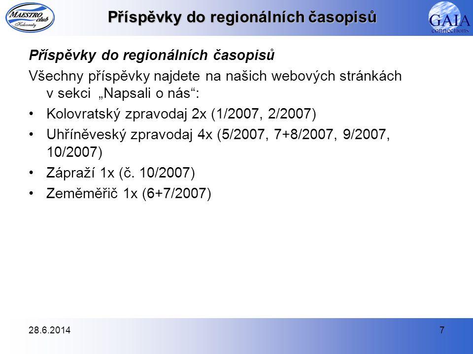 28.6.201438 Partneři klubu V tomto období jsme pokračovali ve spolupráci s následujícími společnostmi: •IGNUM – ještě lepší hosting •Kartografie Praha a.s.