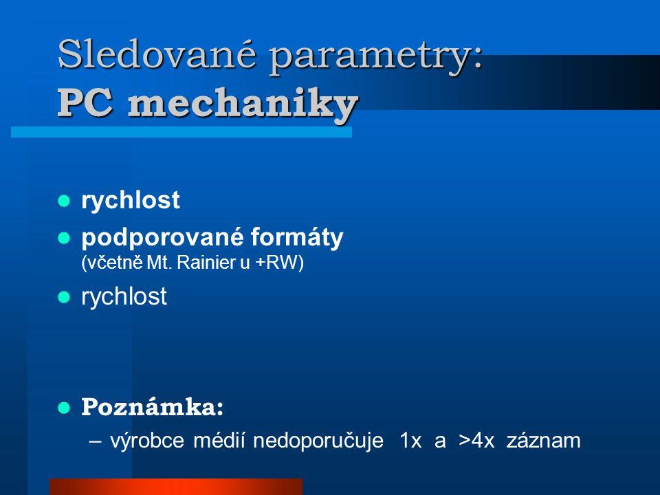Sledované parametry: PC mechaniky  rychlost  podporované formáty (včetně Mt.