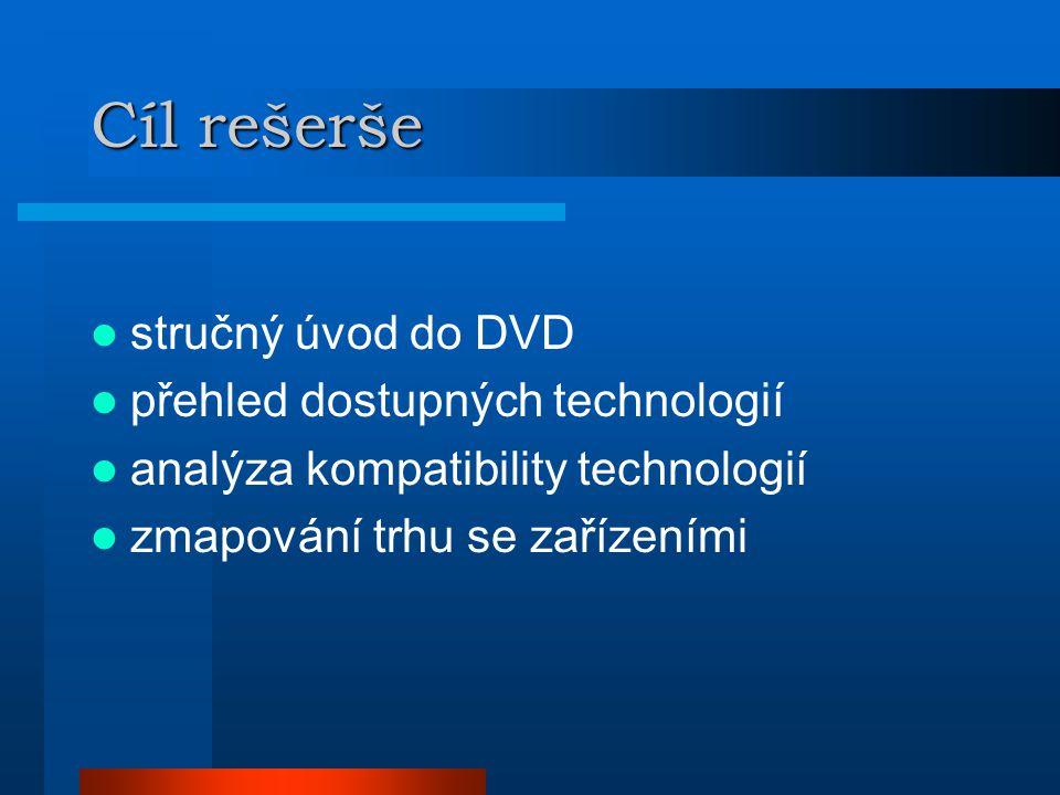 Cíl rešerše  stručný úvod do DVD  přehled dostupných technologií  analýza kompatibility technologií  zmapování trhu se zařízeními