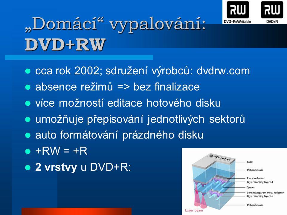 """""""Domácí vypalování: DVD+RW  cca rok 2002; sdružení výrobců: dvdrw.com  absence režimů => bez finalizace  více možností editace hotového disku  umožňuje přepisování jednotlivých sektorů  auto formátování prázdného disku  +RW = +R  2 vrstvy u DVD+R:"""