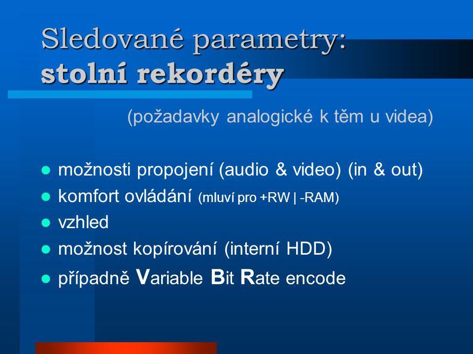 Sledované parametry: stolní rekordéry (požadavky analogické k těm u videa)  možnosti propojení (audio & video) (in & out)  komfort ovládání (mluví pro +RW | -RAM)  vzhled  možnost kopírování (interní HDD)  případně V ariable B it R ate encode