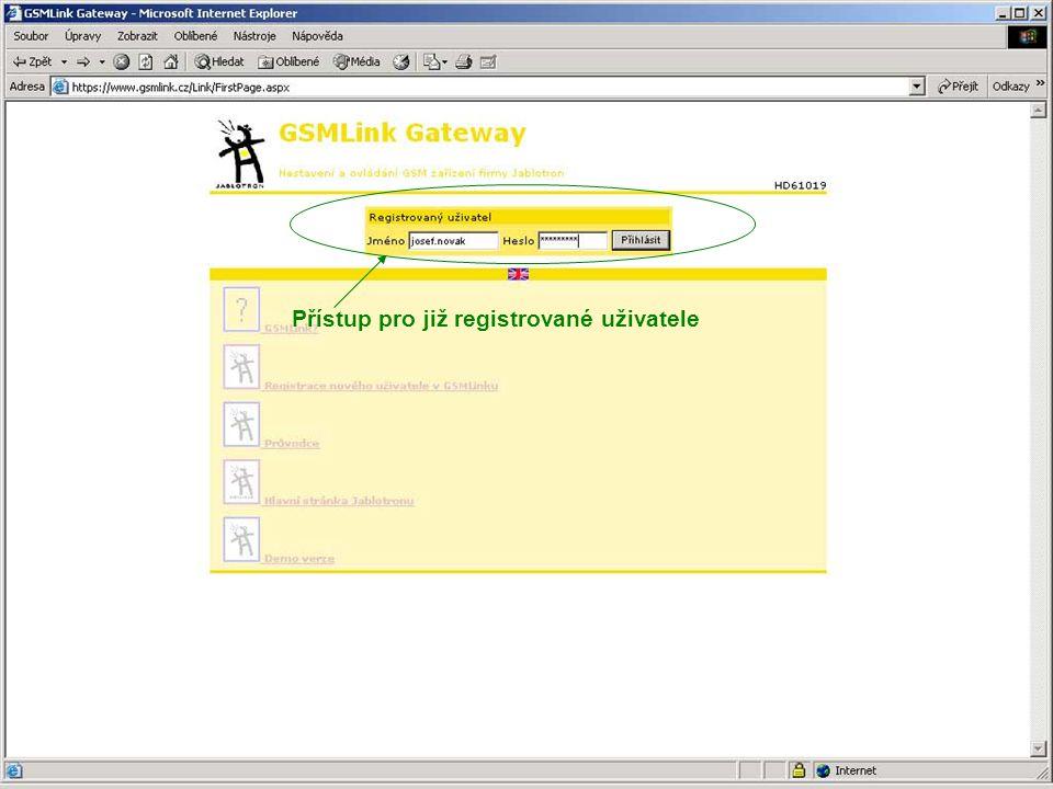 Přístup pro nového uživatele Možnost volby anglické verze stránek