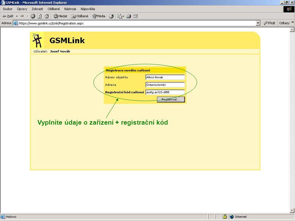 Vyplníte údaje o zařízení + registrační kód