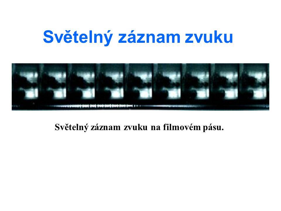 Světelný záznam zvuku Světelný záznam zvuku na filmovém pásu.