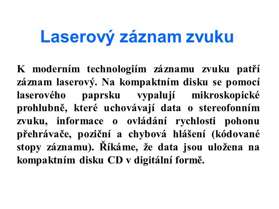 Laserový záznam zvuku K moderním technologiím záznamu zvuku patří záznam laserový. Na kompaktním disku se pomocí laserového paprsku vypalují mikroskop