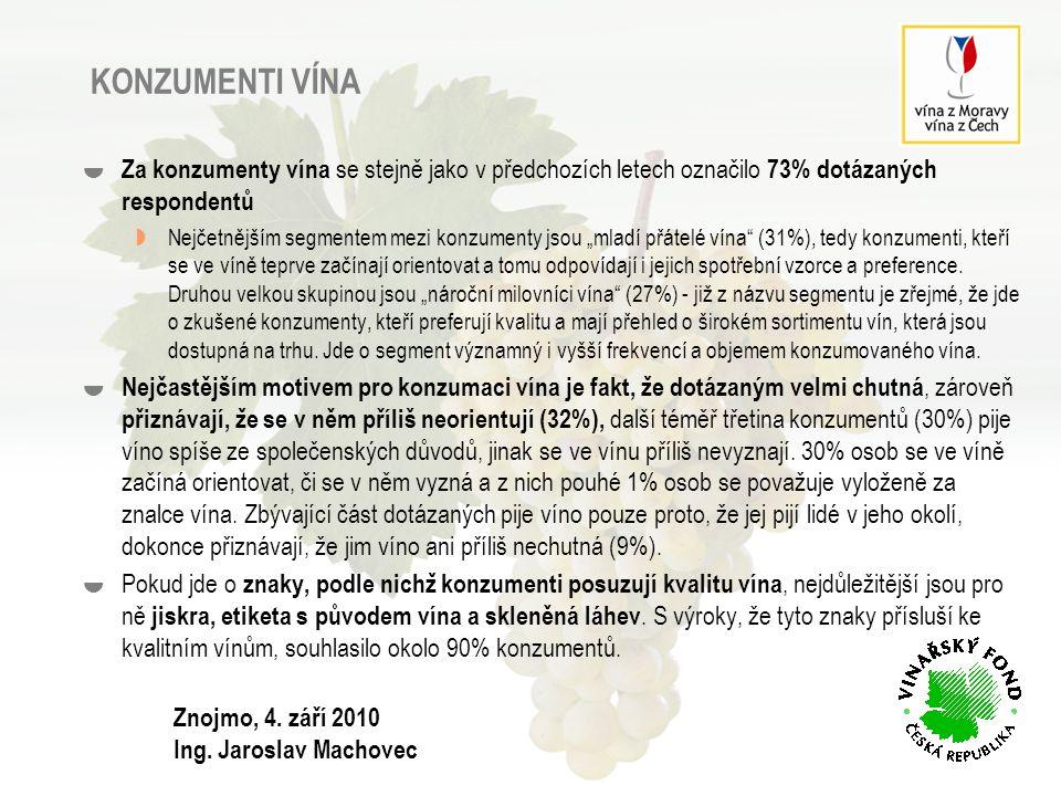 15 KONZUMENTI VÍNA – CHARAKTERISTIKA  Za konzumenty vína se označilo 73% dotázaných respondentů.