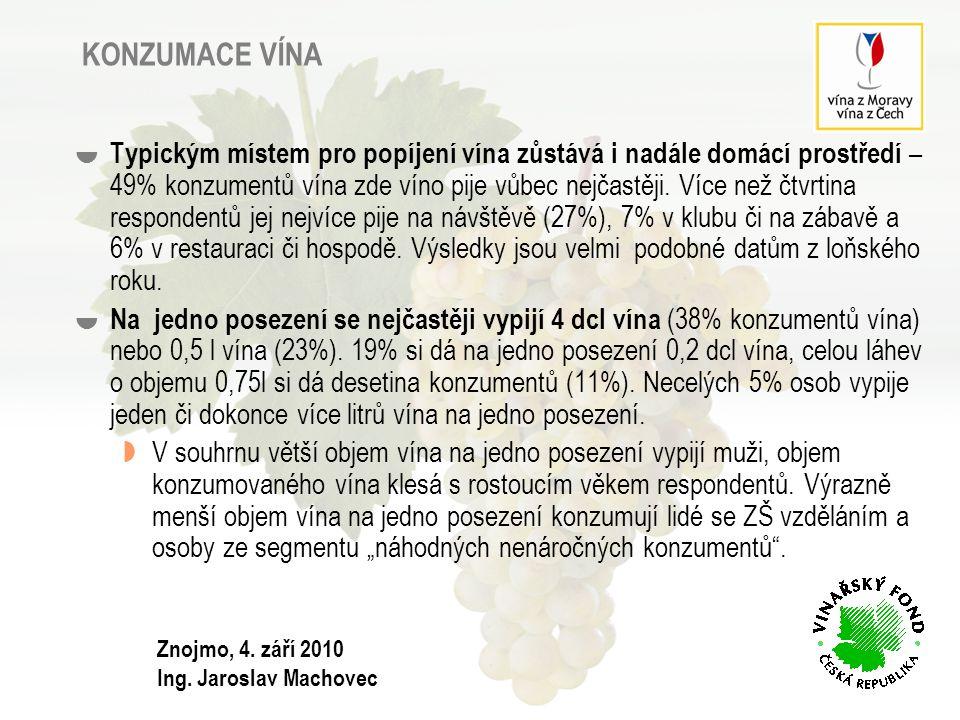 SEGMENTACE SPOTŘEBITELŮ VÍNA  nároční milovníci vína  rezervovaní občasní konzumenti  náhodní nenároční konzumenti  mladí přátelé vína Znojmo, 4.
