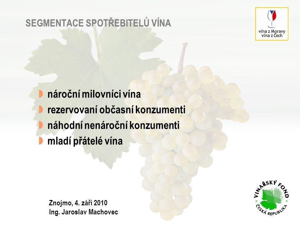 SEGMENTY – podíl v populaci ČR 18+ v %, N=874 celá populacekonzumenti vína v %, N=1203 Znojmo, 4.