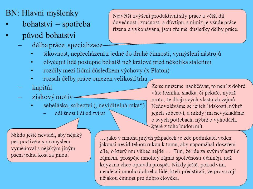 """BN: Hlavní myšlenky •bohatství = spotřeba •původ bohatství –dělba práce, specializace •šikovnost, nepřecházení z jedné do druhé činnosti, vymýšlení nástrojů •obyčejní lidé postupně bohatší než králové před několika staletími •rozdíly mezi lidmi důsledkem výchovy (x Platon) •rozsah dělby práce omezen velikostí trhu –kapitál –ziskový motiv •sebeláska, sobectví (""""neviditelná ruka ) –odlišnost lidí od zvířat Největší zvýšení produktivní síly práce a větší díl dovednosti, zručnosti a důvtipu, s nimiž je všude práce řízena a vykonávána, jsou zřejmě důsledky dělby práce."""