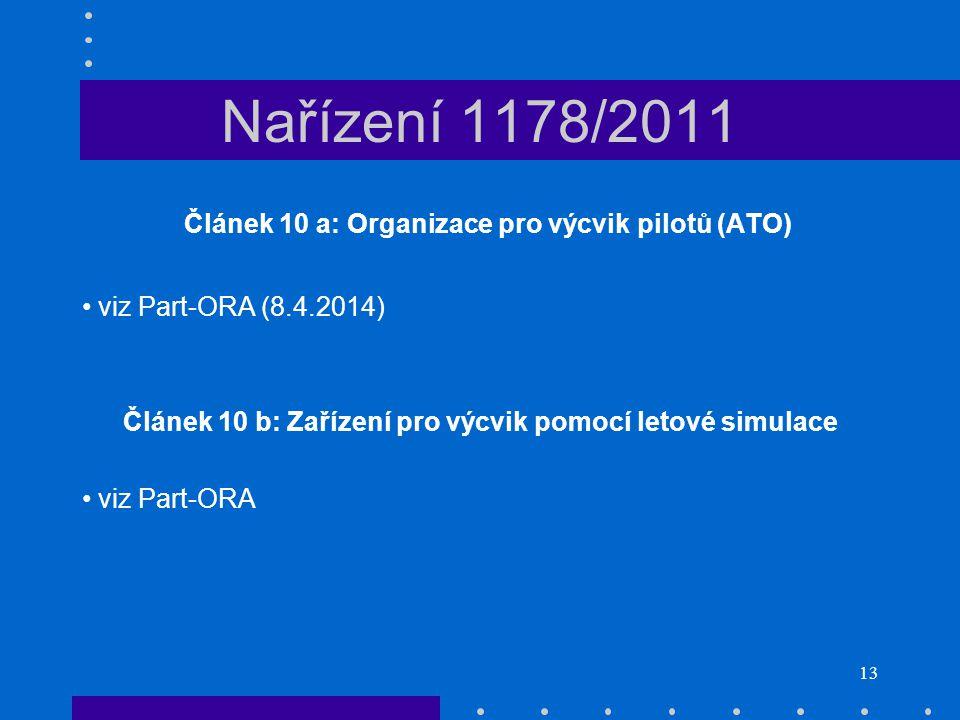 13 Nařízení 1178/2011 Článek 10 a: Organizace pro výcvik pilotů (ATO) • viz Part-ORA (8.4.2014) Článek 10 b: Zařízení pro výcvik pomocí letové simulac