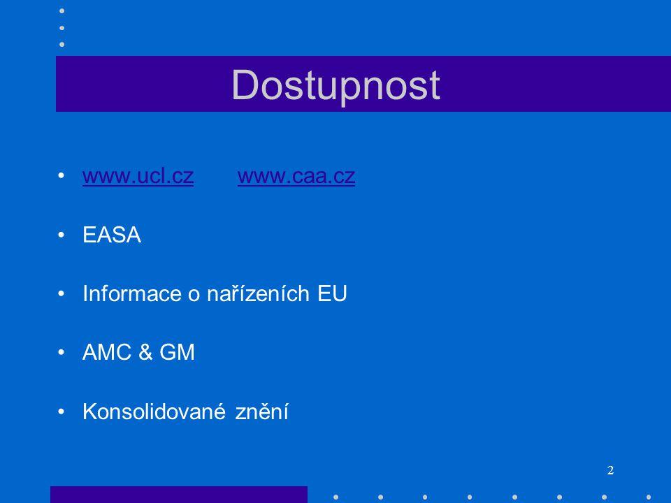 2 Dostupnost •www.ucl.cz www.caa.czwww.ucl.czwww.caa.cz •EASA •Informace o nařízeních EU •AMC & GM •Konsolidované znění